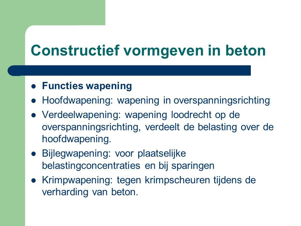 Constructief vormgeven in beton Functies wapening Hoofdwapening: wapening in overspanningsrichting Verdeelwapening: wapening loodrecht op de overspann