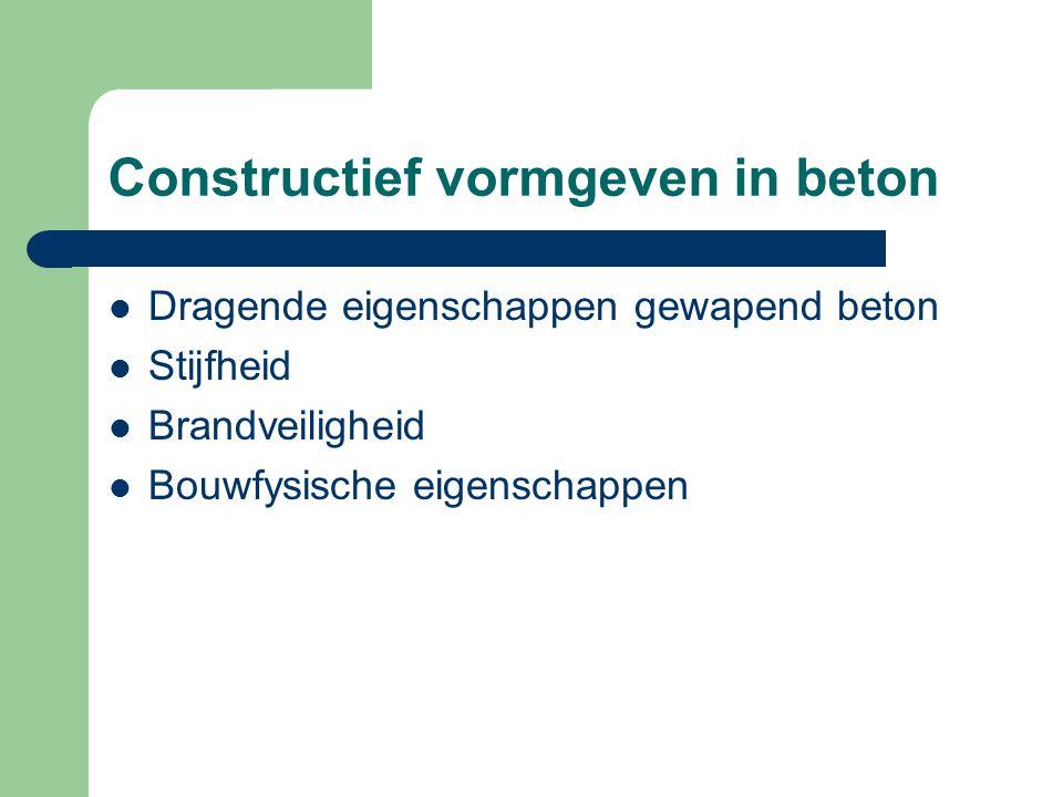 Constructief vormgeven in beton Dragende eigenschappen gewapend beton Stijfheid Brandveiligheid Bouwfysische eigenschappen