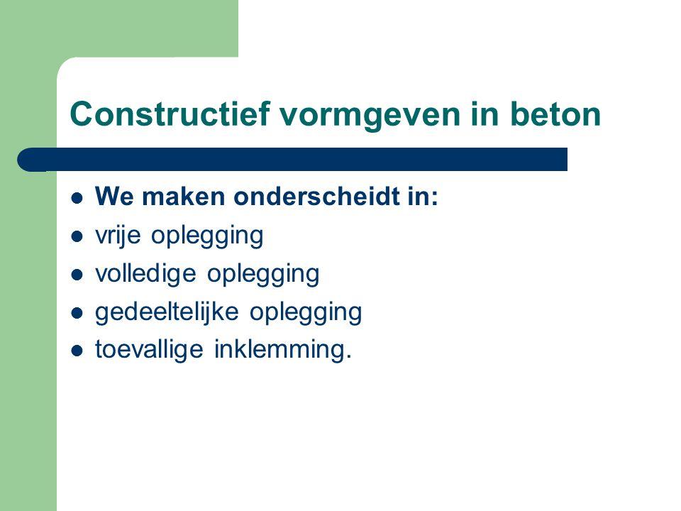 Constructief vormgeven in beton We maken onderscheidt in: vrije oplegging volledige oplegging gedeeltelijke oplegging toevallige inklemming.