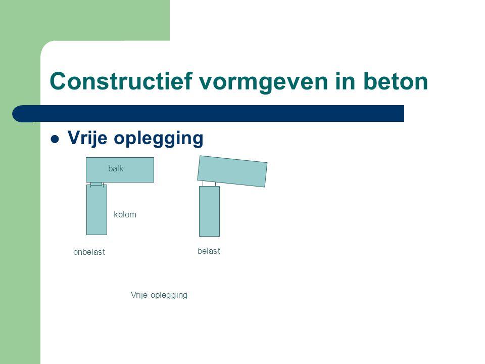 Constructief vormgeven in beton Vrije oplegging kolom balk onbelast belast