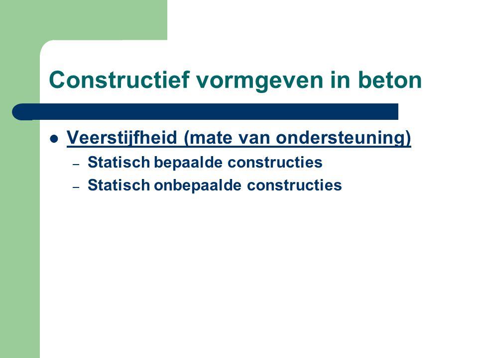 Constructief vormgeven in beton Veerstijfheid (mate van ondersteuning) – Statisch bepaalde constructies – Statisch onbepaalde constructies