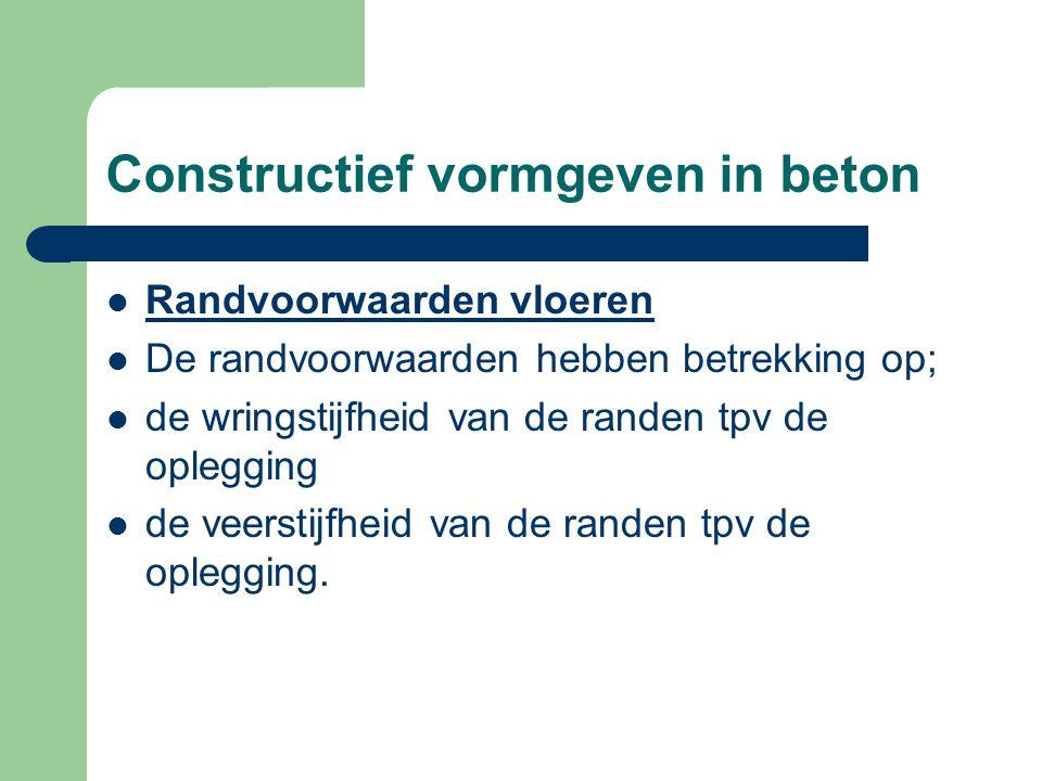 Constructief vormgeven in beton Randvoorwaarden vloeren De randvoorwaarden hebben betrekking op; de wringstijfheid van de randen tpv de oplegging de v