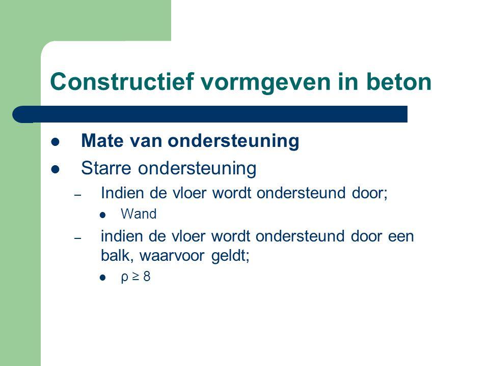 Constructief vormgeven in beton Mate van ondersteuning Starre ondersteuning – Indien de vloer wordt ondersteund door; Wand – indien de vloer wordt ond