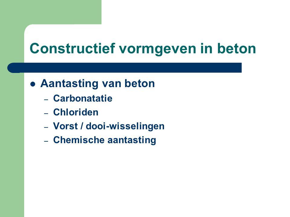 Constructief vormgeven in beton Aantasting van beton – Carbonatatie – Chloriden – Vorst / dooi-wisselingen – Chemische aantasting