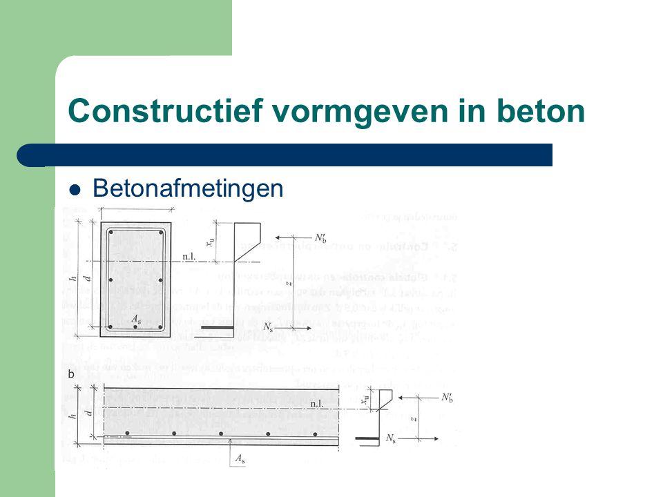 Constructief vormgeven in beton Betonafmetingen
