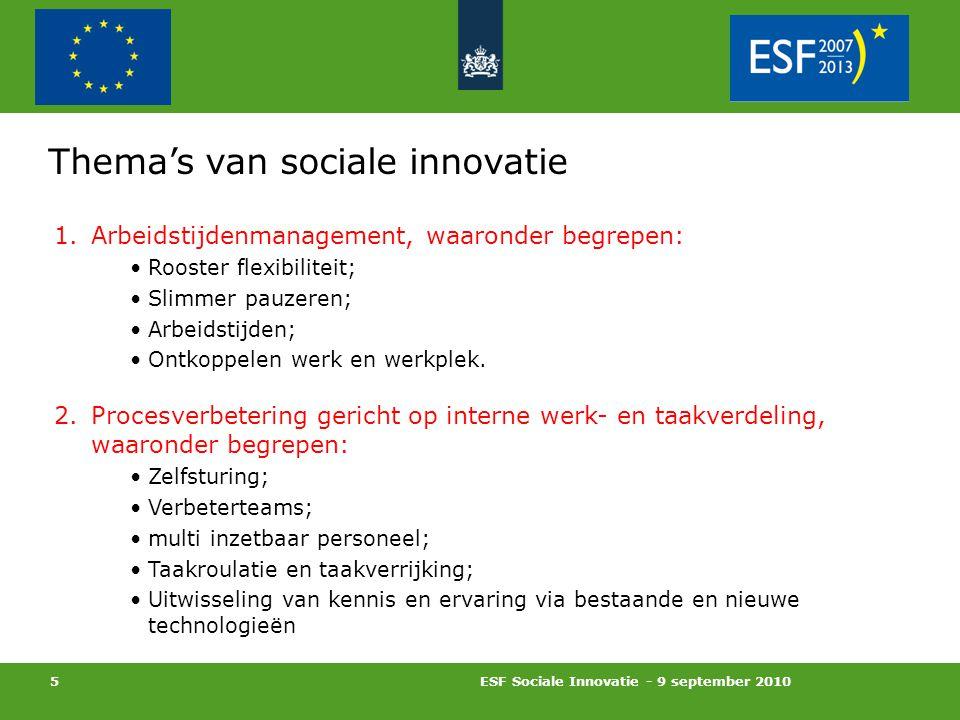 ESF Sociale Innovatie - 9 september 2010 5 Thema's van sociale innovatie 1.Arbeidstijdenmanagement, waaronder begrepen: Rooster flexibiliteit; Slimmer pauzeren; Arbeidstijden; Ontkoppelen werk en werkplek.