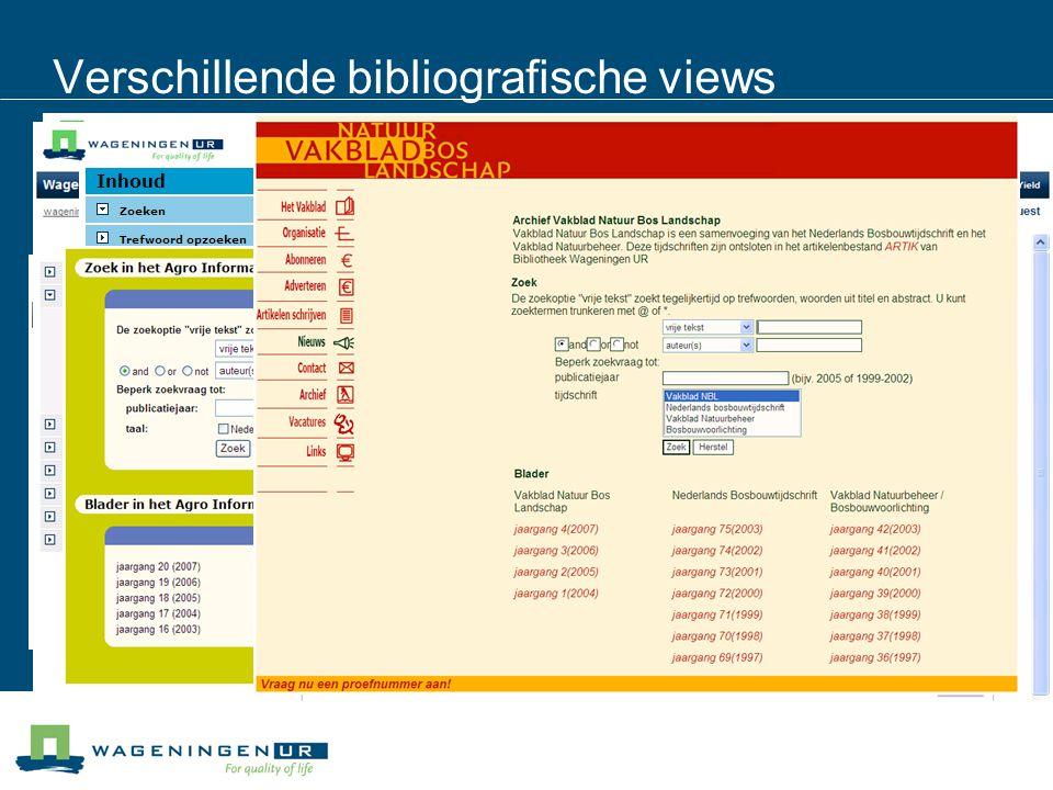 Verschillende bibliografische views
