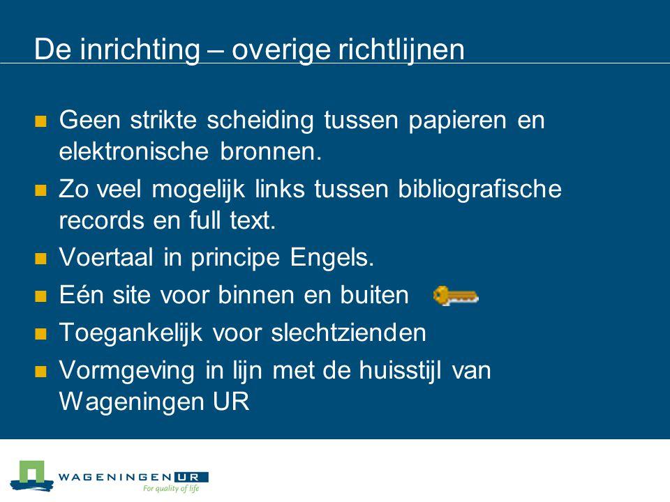 Gebruikers buiten Wageningen UR Documentatiebestanden o.a.