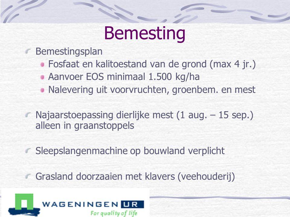 Bemesting Bemestingsplan Fosfaat en kalitoestand van de grond (max 4 jr.) Aanvoer EOS minimaal 1.500 kg/ha Nalevering uit voorvruchten, groenbem. en m