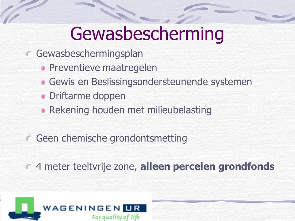 Gewasbescherming Gewasbeschermingsplan Preventieve maatregelen Gewis en Beslissingsondersteunende systemen Driftarme doppen Rekening houden met milieu