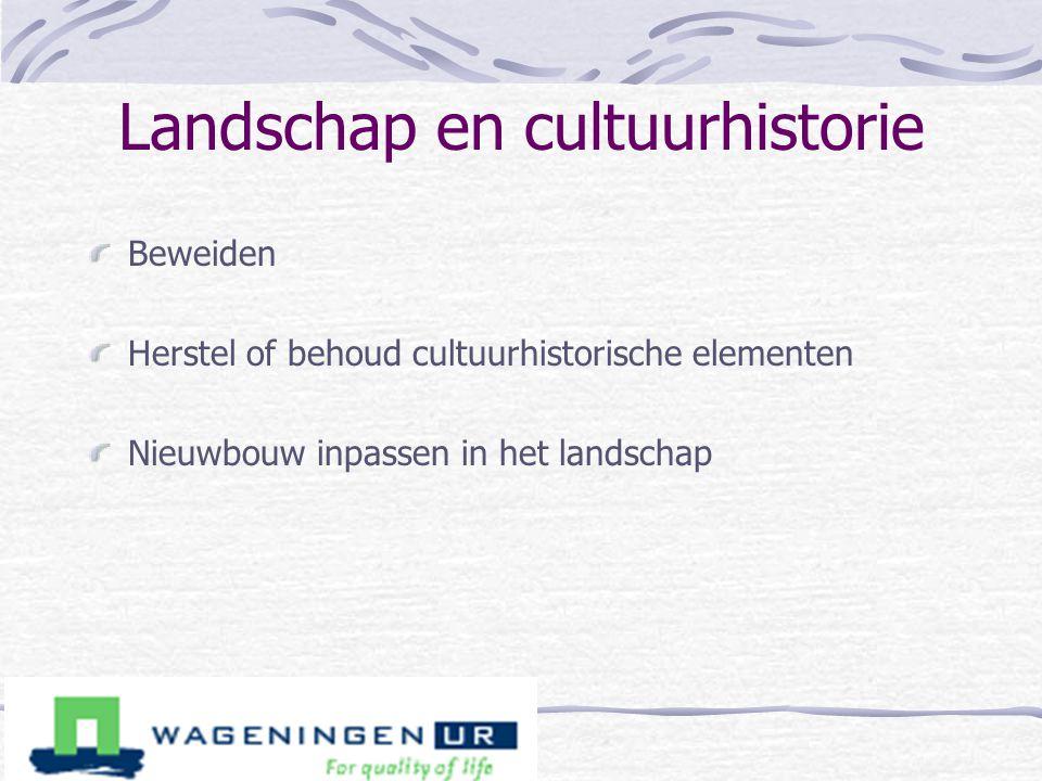 Landschap en cultuurhistorie Beweiden Herstel of behoud cultuurhistorische elementen Nieuwbouw inpassen in het landschap
