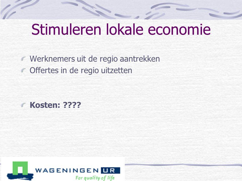 Stimuleren lokale economie Werknemers uit de regio aantrekken Offertes in de regio uitzetten Kosten: ????