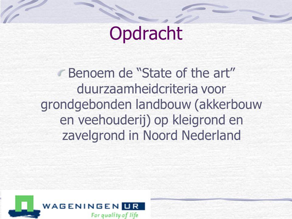 """Opdracht Benoem de """"State of the art"""" duurzaamheidcriteria voor grondgebonden landbouw (akkerbouw en veehouderij) op kleigrond en zavelgrond in Noord"""