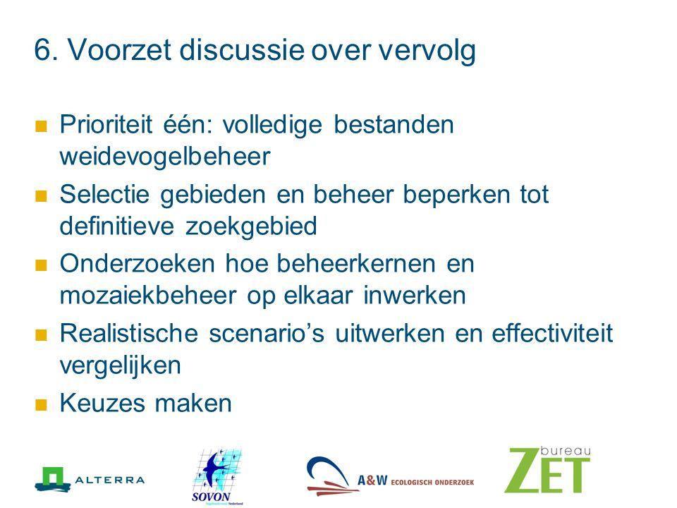 6. Voorzet discussie over vervolg Prioriteit één: volledige bestanden weidevogelbeheer Selectie gebieden en beheer beperken tot definitieve zoekgebied