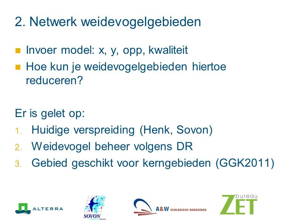 2. Netwerk weidevogelgebieden Invoer model: x, y, opp, kwaliteit Hoe kun je weidevogelgebieden hiertoe reduceren? Er is gelet op: 1. Huidige verspreid