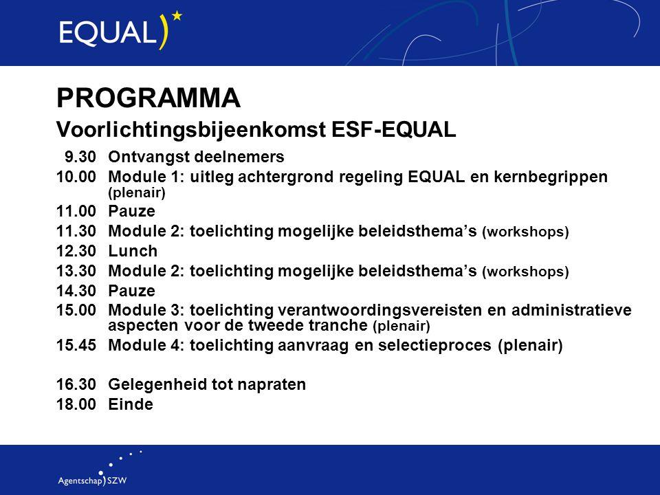 PROGRAMMA Voorlichtingsbijeenkomst ESF-EQUAL 9.30 Ontvangst deelnemers 10.00 Module 1: uitleg achtergrond regeling EQUAL en kernbegrippen (plenair) 11.00 Pauze 11.30 Module 2: toelichting mogelijke beleidsthema's (workshops) 12.30 Lunch 13.30 Module 2: toelichting mogelijke beleidsthema's (workshops) 14.30 Pauze 15.00 Module 3: toelichting verantwoordingsvereisten en administratieve aspecten voor de tweede tranche (plenair) 15.45 Module 4: toelichting aanvraag en selectieproces (plenair) 16.30Gelegenheid tot napraten 18.00 Einde