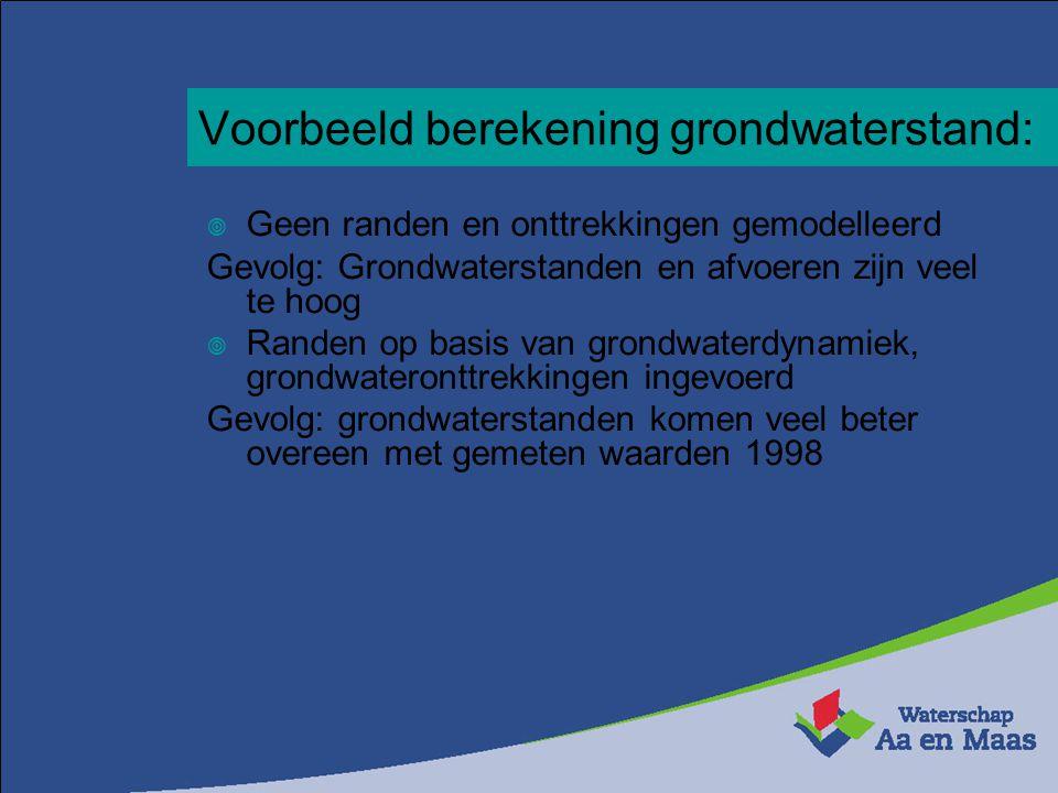 Voorbeeld berekening grondwaterstand:  Geen randen en onttrekkingen gemodelleerd Gevolg: Grondwaterstanden en afvoeren zijn veel te hoog  Randen op basis van grondwaterdynamiek, grondwateronttrekkingen ingevoerd Gevolg: grondwaterstanden komen veel beter overeen met gemeten waarden 1998
