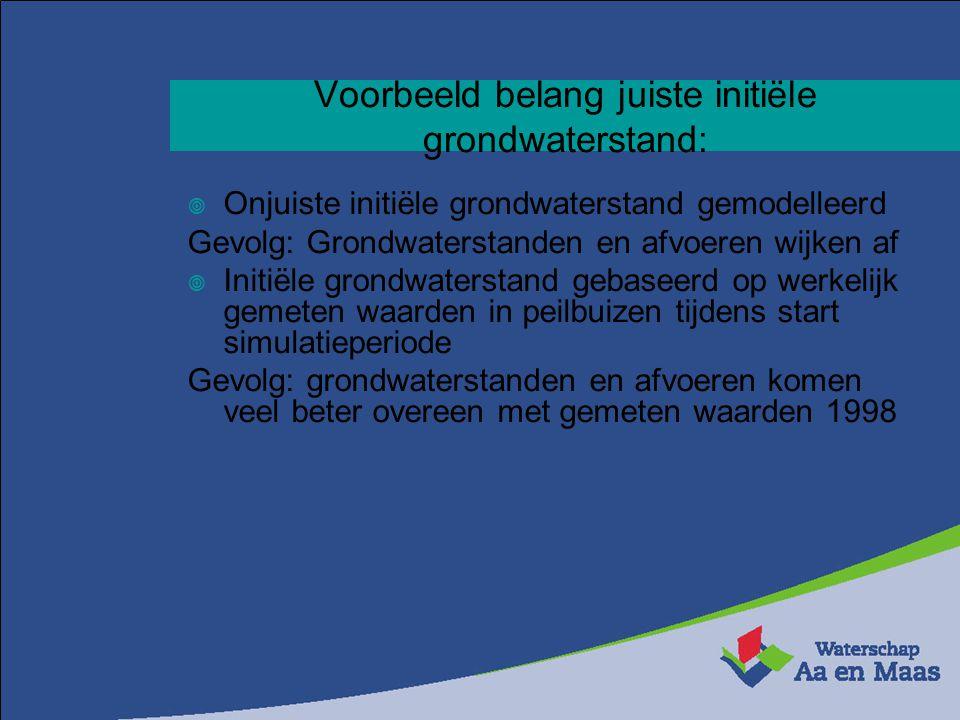 Voorbeeld belang juiste initiële grondwaterstand:  Onjuiste initiële grondwaterstand gemodelleerd Gevolg: Grondwaterstanden en afvoeren wijken af  I