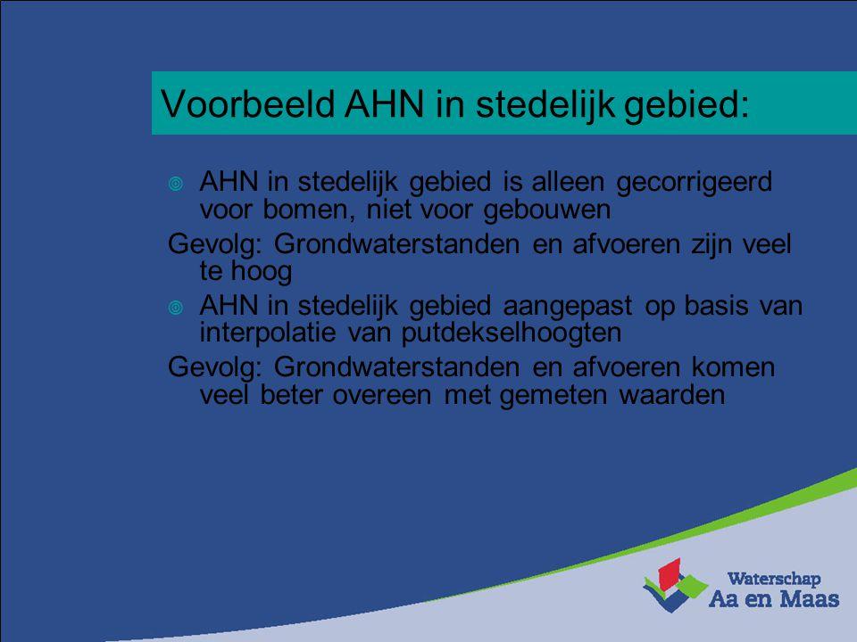 Voorbeeld AHN in stedelijk gebied:  AHN in stedelijk gebied is alleen gecorrigeerd voor bomen, niet voor gebouwen Gevolg: Grondwaterstanden en afvoer