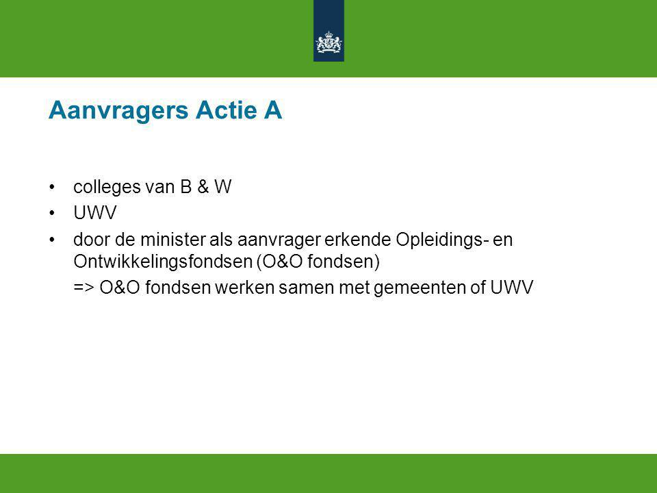 Aanvragers Actie A colleges van B & W UWV door de minister als aanvrager erkende Opleidings- en Ontwikkelingsfondsen (O&O fondsen) => O&O fondsen werken samen met gemeenten of UWV