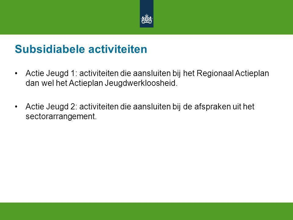 Subsidiabele activiteiten Actie Jeugd 1: activiteiten die aansluiten bij het Regionaal Actieplan dan wel het Actieplan Jeugdwerkloosheid.