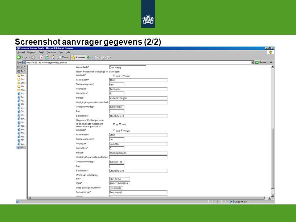 Screenshot aanvrager gegevens (2/2)