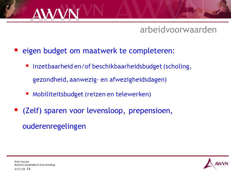 Piet Vessies Beleid Coordinatie & Ontwikkeling #373 308 14 arbeidvoorwaarden  eigen budget om maatwerk te completeren:  Inzetbaarheid en/of beschikb