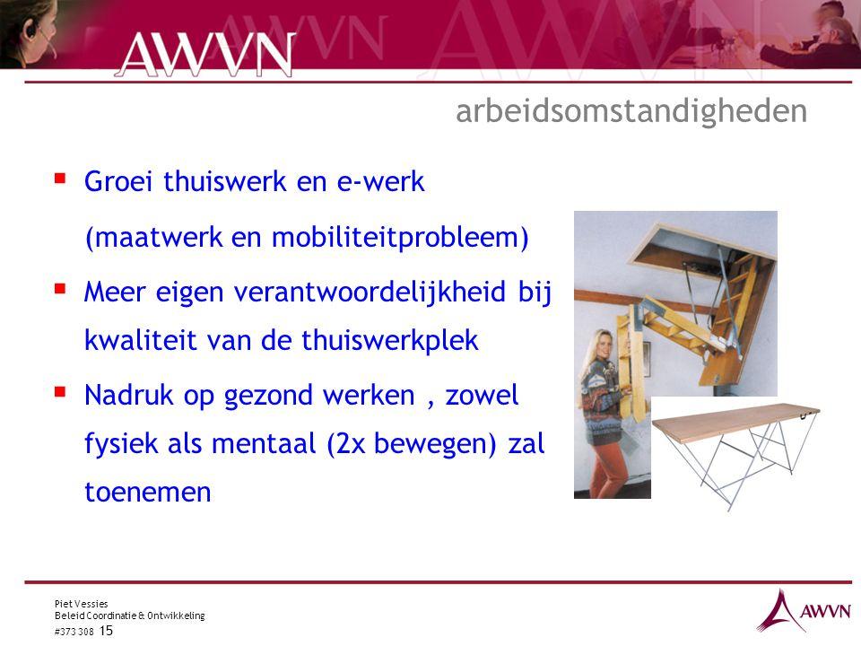 Piet Vessies Beleid Coordinatie & Ontwikkeling #373 308 15 arbeidsomstandigheden  Groei thuiswerk en e-werk (maatwerk en mobiliteitprobleem)  Meer e