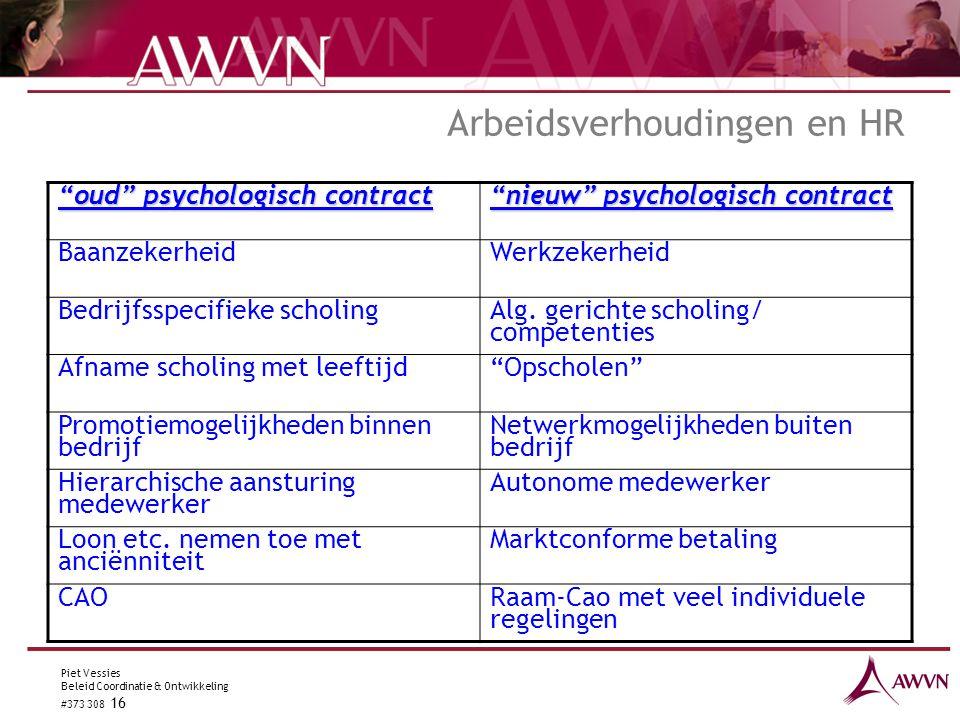 """Piet Vessies Beleid Coordinatie & Ontwikkeling #373 308 16 Arbeidsverhoudingen en HR """"oud"""" psychologisch contract """"nieuw"""" psychologisch contract Baanz"""