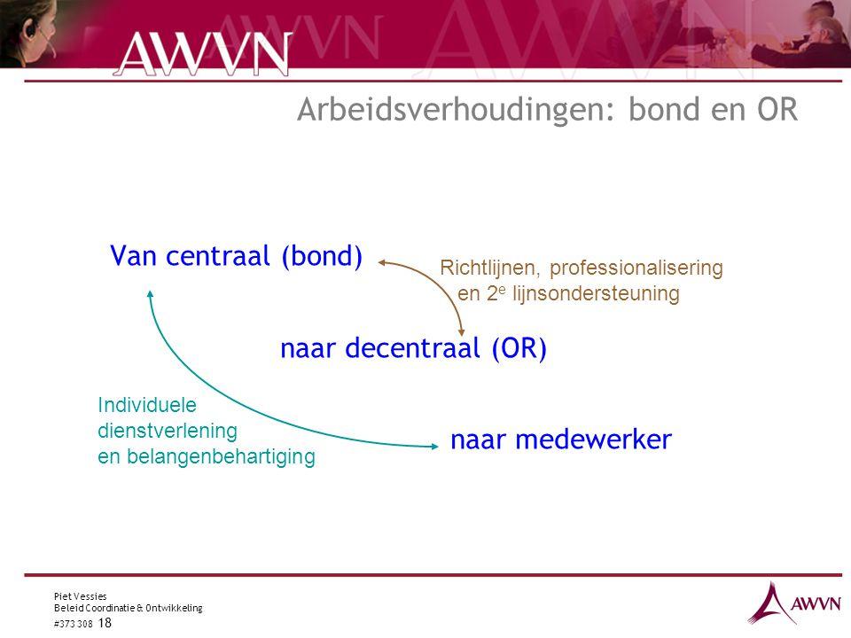 Piet Vessies Beleid Coordinatie & Ontwikkeling #373 308 18 Arbeidsverhoudingen: bond en OR Van centraal (bond) naar decentraal (OR) naar medewerker In