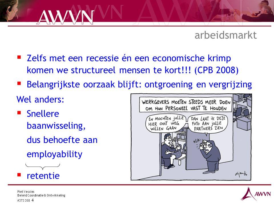 Piet Vessies Beleid Coordinatie & Ontwikkeling #373 308 4 arbeidsmarkt  Zelfs met een recessie én een economische krimp komen we structureel mensen te kort!!.