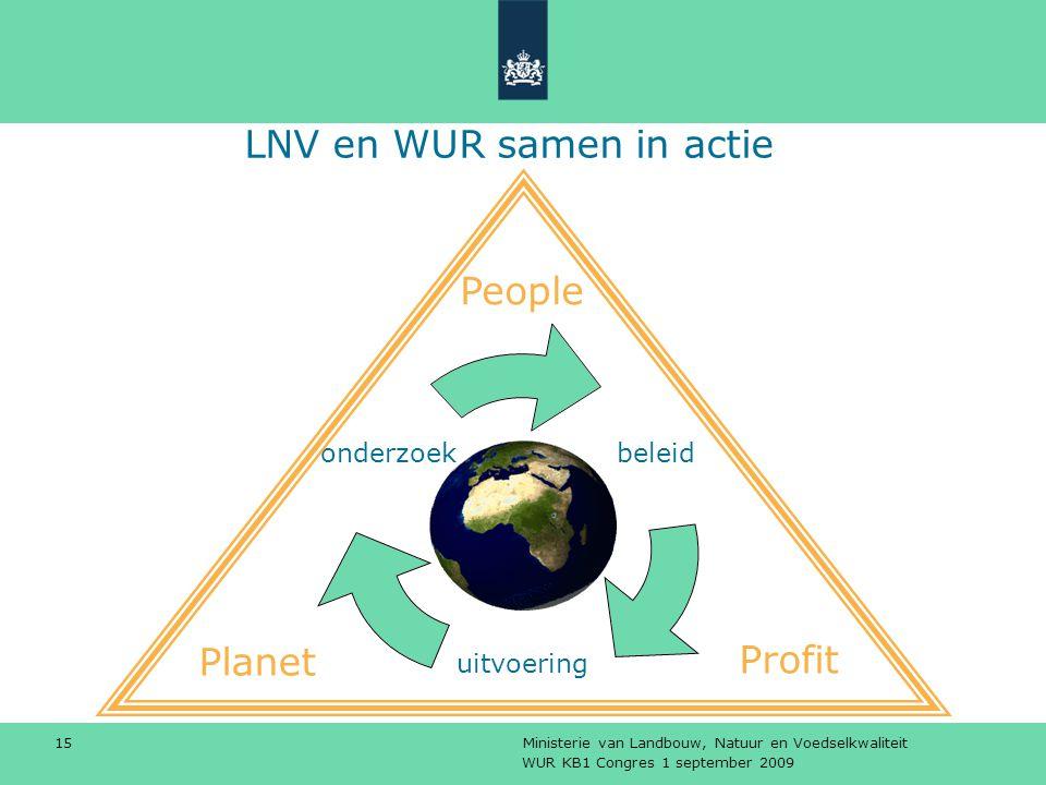 WUR KB1 Congres 1 september 2009 Ministerie van Landbouw, Natuur en Voedselkwaliteit 15 LNV en WUR samen in actie People Planet Profit