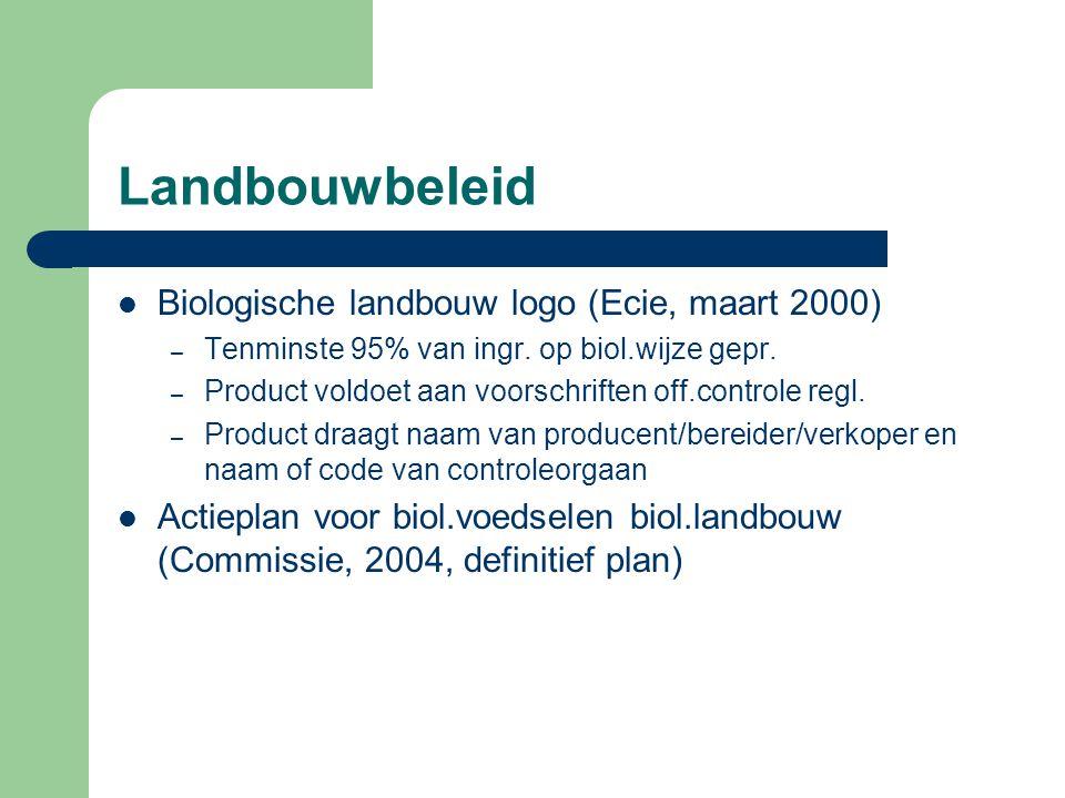 Landbouwbeleid Biologische landbouw logo (Ecie, maart 2000) – Tenminste 95% van ingr.