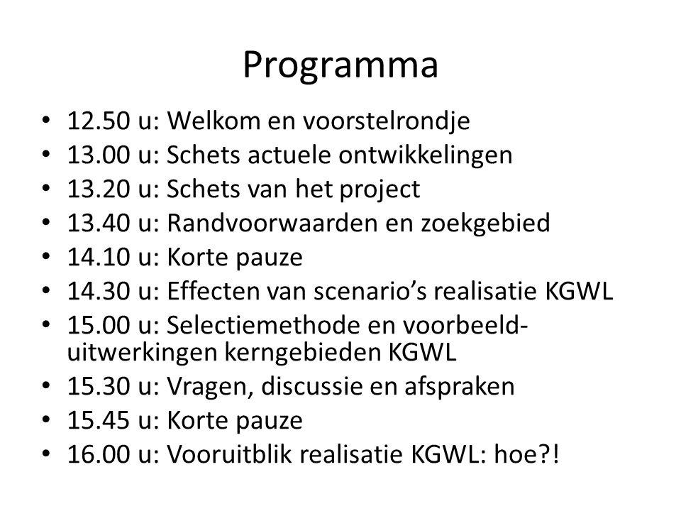 Programma 12.50 u: Welkom en voorstelrondje 13.00 u: Schets actuele ontwikkelingen 13.20 u: Schets van het project 13.40 u: Randvoorwaarden en zoekgeb