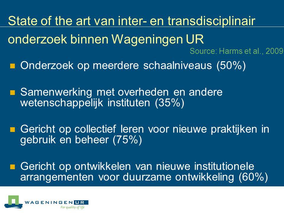 State of the art van inter- en transdisciplinair onderzoek binnen Wageningen UR Onderzoek op meerdere schaalniveaus (50%) Samenwerking met overheden e
