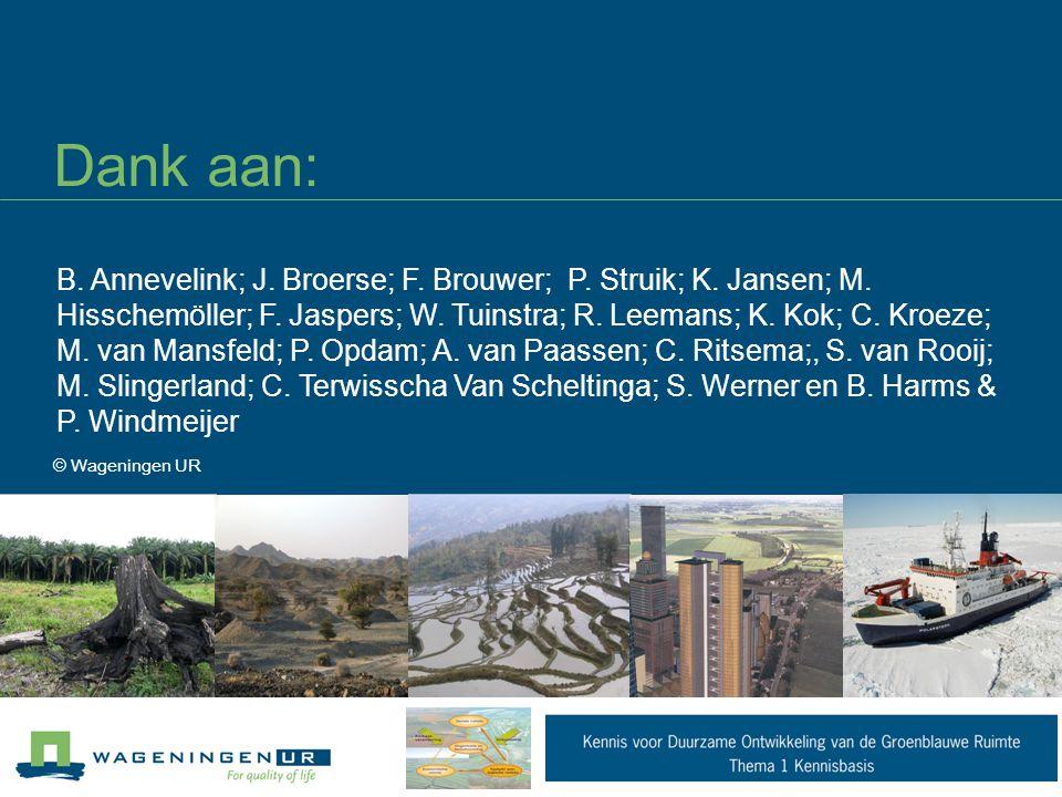 Dank aan: © Wageningen UR B. Annevelink; J. Broerse; F. Brouwer; P. Struik; K. Jansen; M. Hisschemöller; F. Jaspers; W. Tuinstra; R. Leemans; K. Kok;