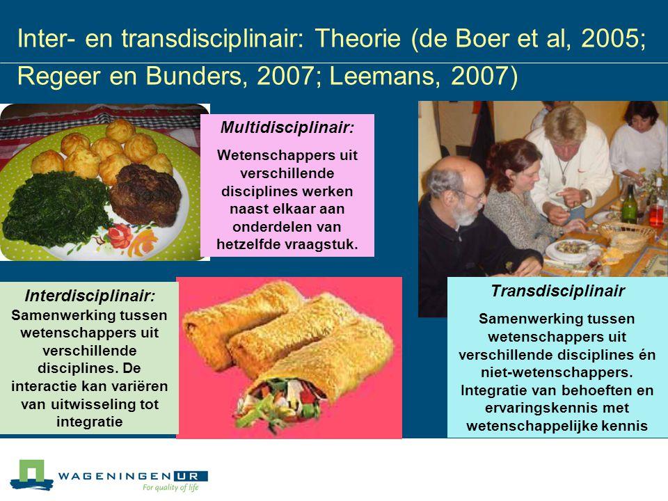 Inter- en transdisciplinair: Theorie (de Boer et al, 2005; Regeer en Bunders, 2007; Leemans, 2007) Interdisciplinair: Samenwerking tussen wetenschappe