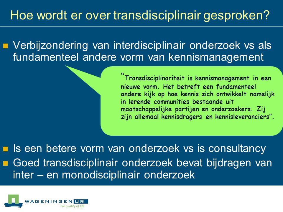 Inter- en transdisciplinair: Samenwerking tussen onderzoekers onderling Samenwerking tussen bèta's en gamma's moeizaam Interactie is dominante praktijk binnen WUR - Integratie van concepten, benaderingen, methodieken nauwelijks