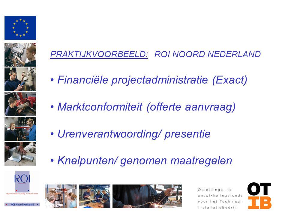 PRAKTIJKVOORBEELD: ROI NOORD NEDERLAND Financiële projectadministratie (Exact) Marktconformiteit (offerte aanvraag) Urenverantwoording/ presentie Knel