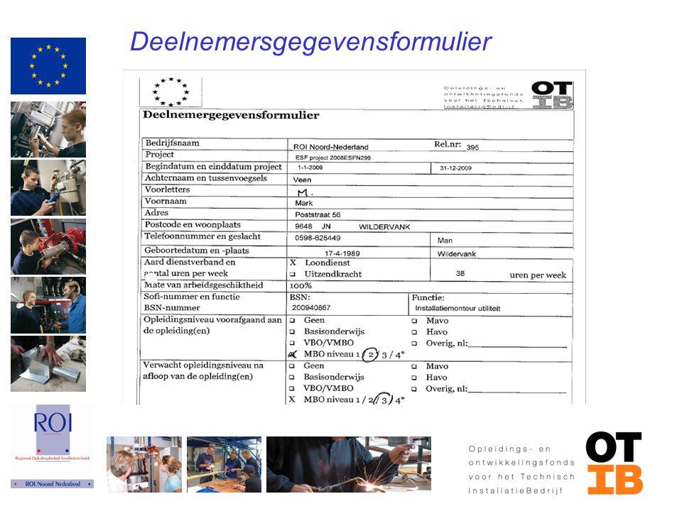Deelnemersgegevensformulier