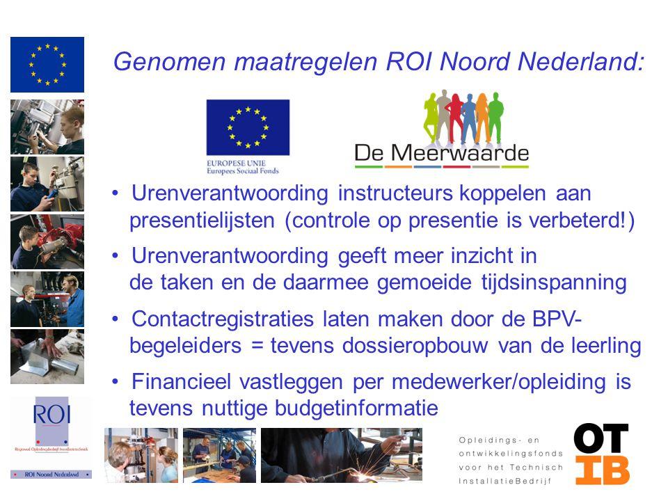 Genomen maatregelen ROI Noord Nederland: Urenverantwoording instructeurs koppelen aan presentielijsten (controle op presentie is verbeterd!) Urenveran