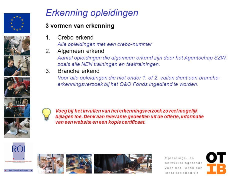 Erkenning opleidingen 3 vormen van erkenning 1.Crebo erkend Alle opleidingen met een crebo-nummer 2.Algemeen erkend Aantal opleidingen die algemeen er