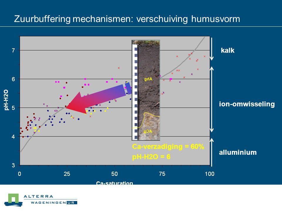 Zuurbuffering mechanismen: verschuiving humusvorm kalk ion-omwisseling alluminium Ca-verzadiging = 60% pH-H2O = 6