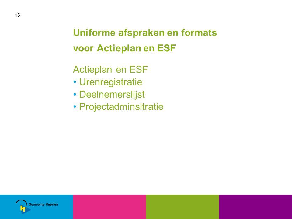 13 Uniforme afspraken en formats voor Actieplan en ESF Actieplan en ESF Urenregistratie Deelnemerslijst Projectadminsitratie