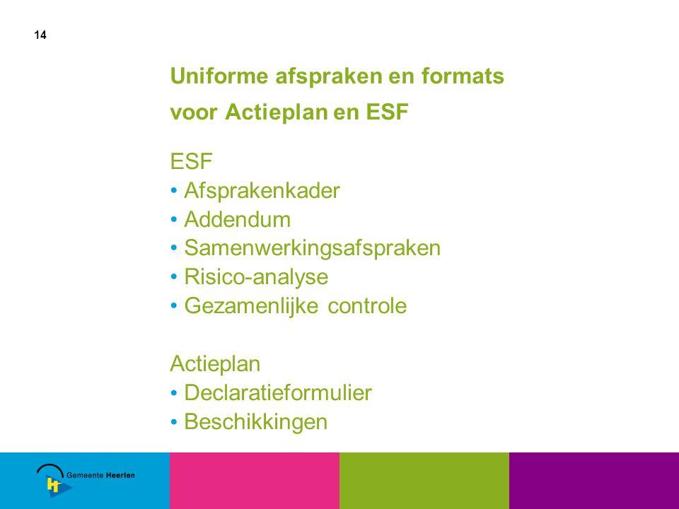 14 Uniforme afspraken en formats voor Actieplan en ESF ESF Afsprakenkader Addendum Samenwerkingsafspraken Risico-analyse Gezamenlijke controle Actieplan Declaratieformulier Beschikkingen