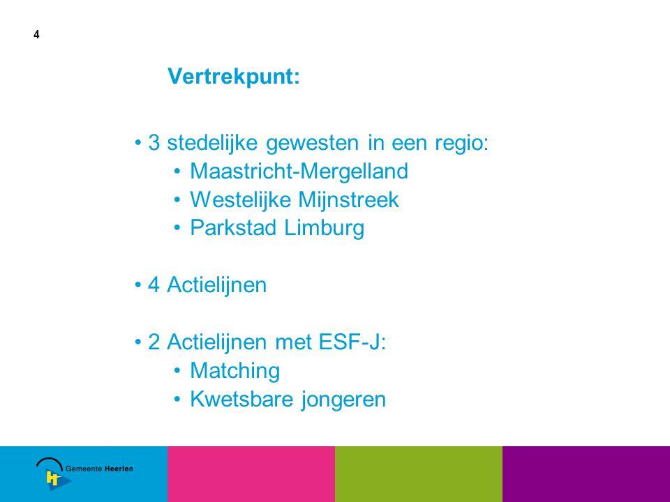 4 Vertrekpunt: 3 stedelijke gewesten in een regio: Maastricht-Mergelland Westelijke Mijnstreek Parkstad Limburg 4 Actielijnen 2 Actielijnen met ESF-J: Matching Kwetsbare jongeren