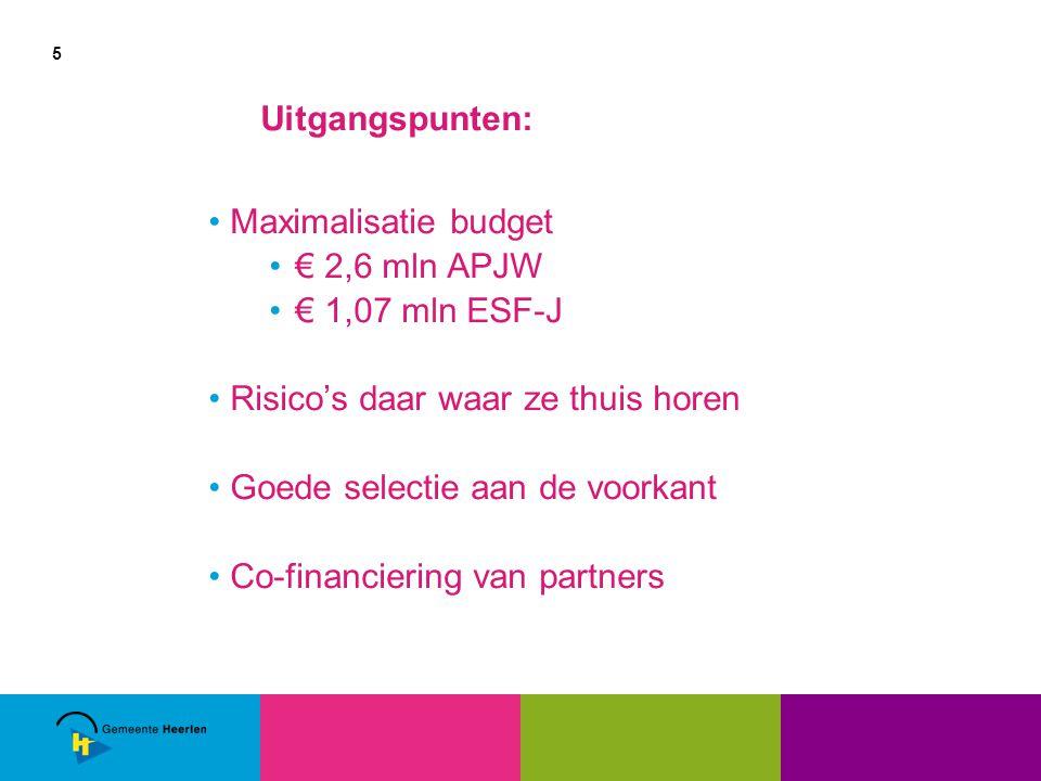 5 Uitgangspunten: Maximalisatie budget € 2,6 mln APJW € 1,07 mln ESF-J Risico's daar waar ze thuis horen Goede selectie aan de voorkant Co-financiering van partners
