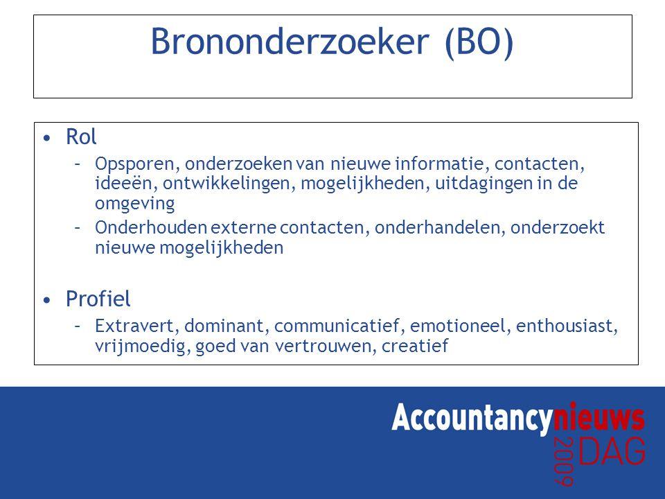 Brononderzoeker (BO) Rol –Opsporen, onderzoeken van nieuwe informatie, contacten, ideeën, ontwikkelingen, mogelijkheden, uitdagingen in de omgeving –O