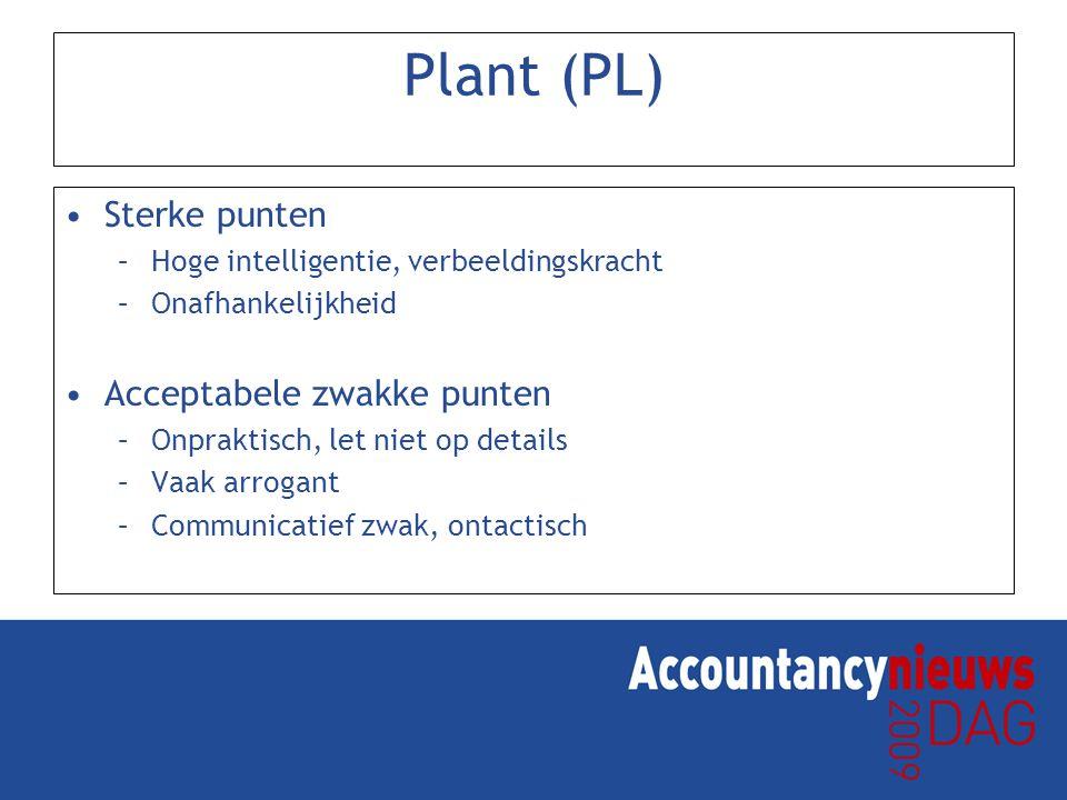 Plant (PL) Sterke punten –Hoge intelligentie, verbeeldingskracht –Onafhankelijkheid Acceptabele zwakke punten –Onpraktisch, let niet op details –Vaak arrogant –Communicatief zwak, ontactisch