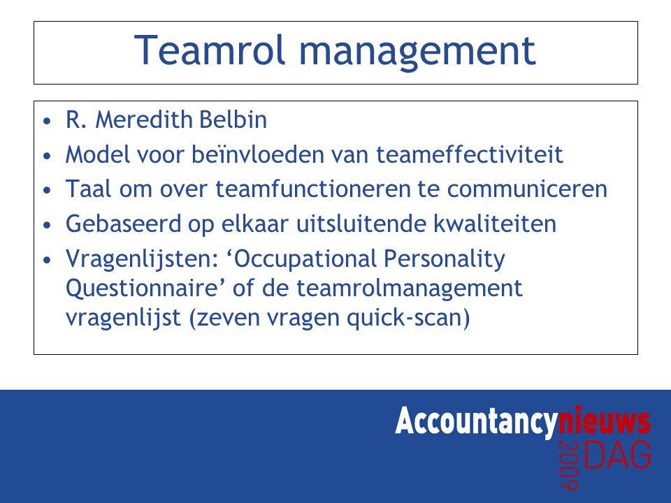 Teamrol management R. Meredith Belbin Model voor beïnvloeden van teameffectiviteit Taal om over teamfunctioneren te communiceren Gebaseerd op elkaar u